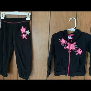 Girls back sweatsuit with hot pink stars